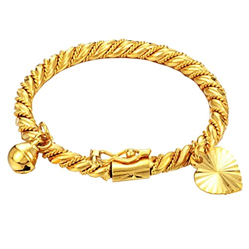 UM Jewelry Gold Plated New Born Baby Charm Bracelets for Girls and Boys with Heart Leaf,Bell 4.33