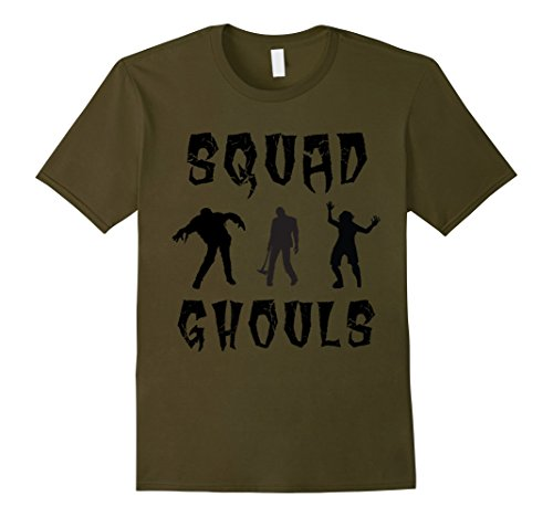 [Mens Cool Halloween Squad Ghouls T-shirt costume tee Large Olive] (Cool Ghoul Costumes)