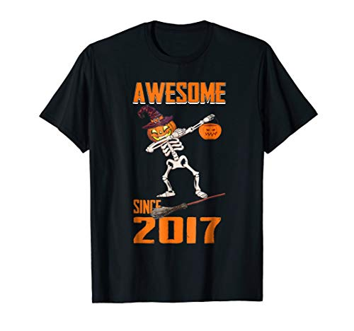 Skeleton Pumpkin Dabbing Awesome Since Halloween 2017 Shirt -