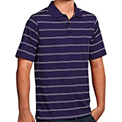 100% polyester Desert Dry Xtra-Lite D2XL yarn dye stripe jersey short sleeve polo with flat knit collar. Button placket. Antigua triangle patch at sleeve.