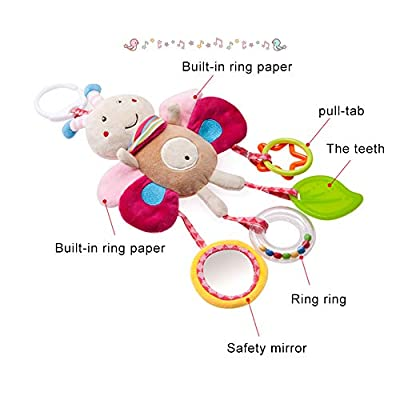 Baby Toys Hanging Rattle Crinkle Squeaky Educational Toy Infant Newborn Stroller Car Seat Crib Travel Activity Plush Bee Shape Wind Chime with Teether : Baby