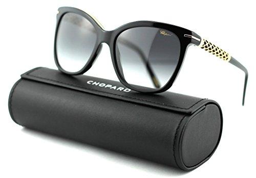 Chopard SCH 207S Women Round Sunglasses (Shiny Black Frame/Smoke Gradient Lenses0700) ()