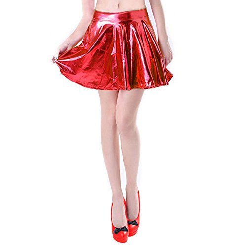 Shiny Metallic Skater Skirt Liquid Wet Look Pleated Short Mini Skirts Red Skirt for Women