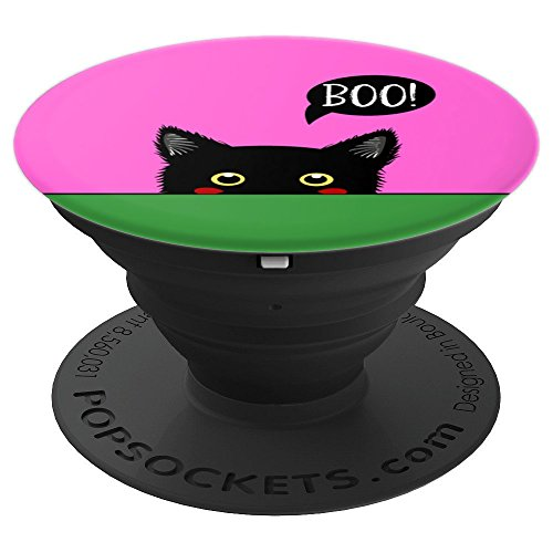 Cute Black Cat Boo Halloween Kitten Kitty Costume Pink - PopSockets Grip and Stand for Phones and Tablets