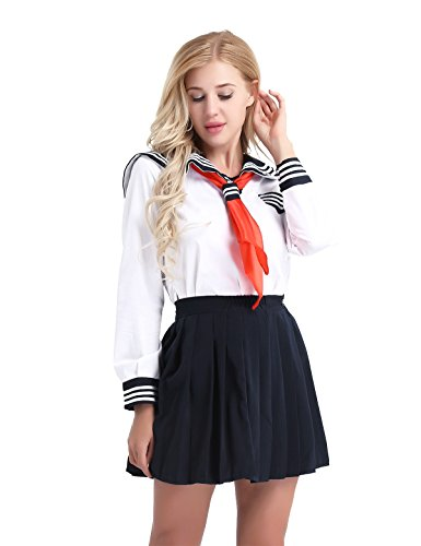 CHICTRY Japanese Sailor Suit Cosplay Costume Sexy Women Schoolgirl Uniform Dress White XX-Large ()