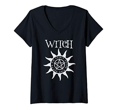 Womens Witch Pentacle Pagan Wiccan Halloween Graphic V-Neck