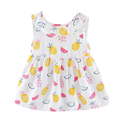 ❤️ Mealeaf ❤️ Toddler Baby Girl Sleeveless Fruits Pineapple Watermelon Print Bow Dress Clothes(White,100)