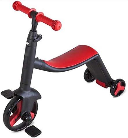 キックスクーター、3台のホイールスクーターキッズ子供スリーホイールバランスバイク3で1バランスバイクに乗って車のベビースクーター三輪車に乗っておもちゃを折りたたみ 高さ調節可能 (Color : Red)