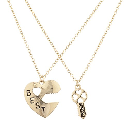 Lux Accessories Goldtone Best Friends BFF Heart Lock and Key Charm Necklace -