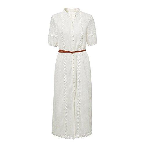 MiGMV?2018 Nouvelle Robe Blanche  Manches Courtes Un caractre, Slim et vtements de Mode, Style Long de l't,S,White