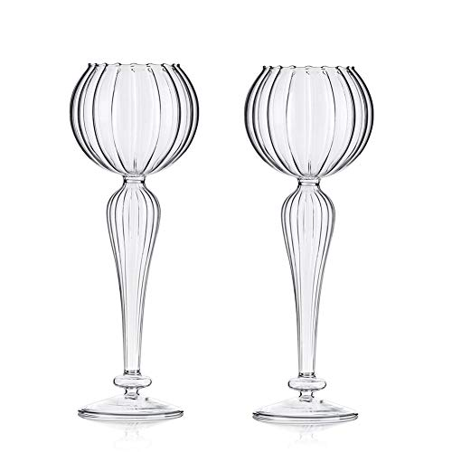 Sziqiqi 2 Pcs/Set Elegant Goblet Designed Glass Candle Holder, Wedding Centerpiece Decorations, Candlelight Dinner Candle Holder, Creative Ornament for Home, Dining Table and Bar (Flower Shape)
