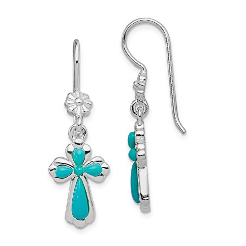 - 925 Sterling Silver Imitation Blue Turquoise Cross Religious Drop Dangle Chandelier Earrings Fine Jewelry Gifts For Women For Her