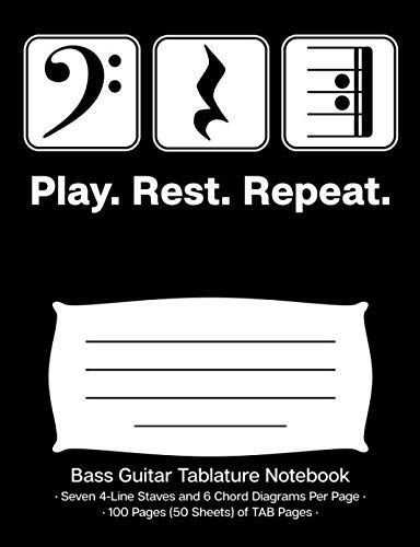 (Play Rest Repeat Bass Guitar Tablature Notebook: Blank Bass Guitar TAB Paper Manuscript Notebook; Bass Clef Play Rest Repeat Cover Design in White on Black Background)