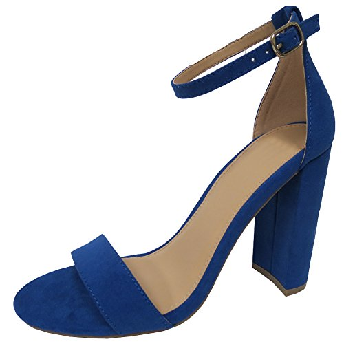 Cambridge Select Womens Open Toe Single Band Buckled Ankle Strap Chunky Block Heel Sandal Blue KnXJ479Dn