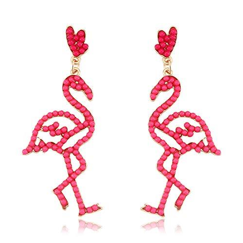Seni Bead Drop Earrings for Women Handmade Seed Bead Earrings Boho Beaded Dangle Studs Earrings for Girls Flamingo Animal Jewelry (Flamingo)
