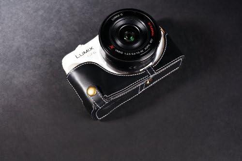 Handmade Genuine real Leather Half Camera Case bag cover for Panasonic GF6 Black Bottom opening Version