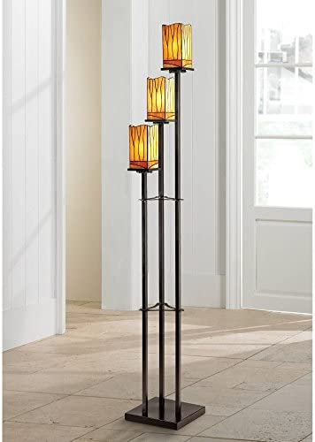 Sedona Art Deco Floor Lamp 3-Light Bronze Amber Tone Tiffany Style Glass Shade for Living Room Bedroom Office – Robert Louis Tiffany