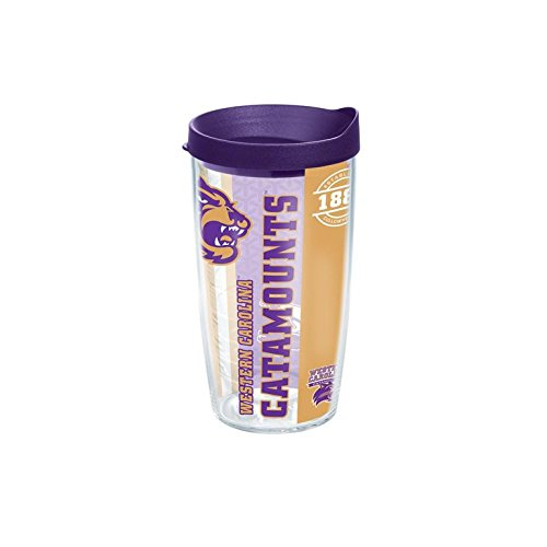 Tervis 1229410 Western Carolina Catamounts College Pride Tumbler with Wrap and Royal Purple Lid 16oz, Clear