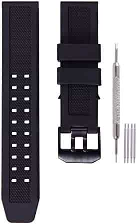 23mm Rubber Watch Band Strap Fits Casio Timex Seiko Replacement Luminox 3050 8800 and 3950 Series with Black Double Prong Clasp