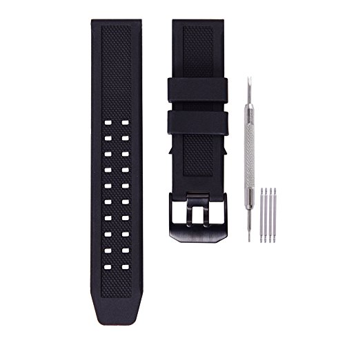 23mm Rubber Watch Band Strap Fits Casio Timex Seiko Replacement Luminox 3050 8800 and 3950 Series With Black Double Prong Clasp by Ritche
