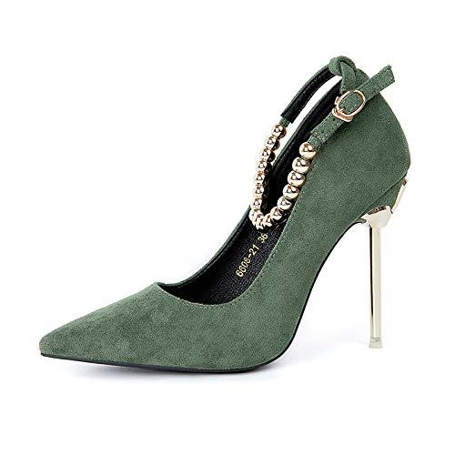 Yukun zapatos de tacón alto Zapatos De Mujer De Otoño Zapatos De Boda Rojo con Tacones De Ante Fino con Zapatos Profesionales Salvajes Green