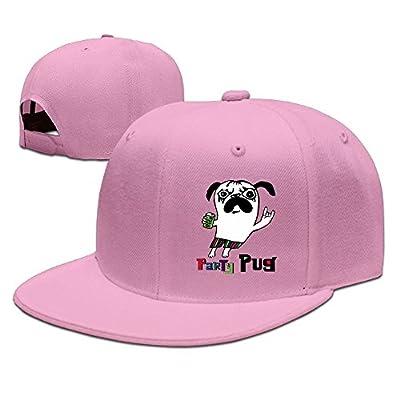 PeaceTown Party Pug Solid Flat Bill Hip Hop Snapback Baseball Cap Unisex Sunbonnet Hat.