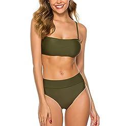 Trendoux Womens Bandeau Bikini High Cut Swimsuit Removable Straps Two Pieces Bathing Suit Waterproof Phone Pouch Gift