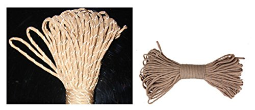 (Sparik Enjoy 4 MM Cream-colored Reflective Cord 100 Feet Long Tent Guyline Rope with Carry Pouch)