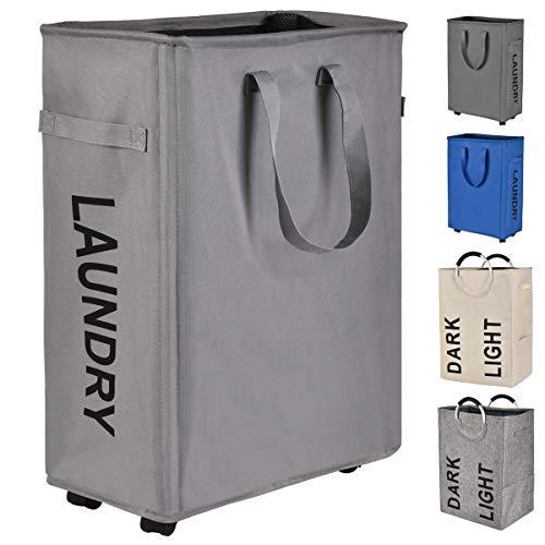 (Prodigen Rolling Slim Laundry Hamper Basket, Foldable Waterproof Narrow Laundry Hamper with Wheels, Tall Thin Laundry Hamper Home Corner Bin Laundry Sorter and Organizer (Gray))