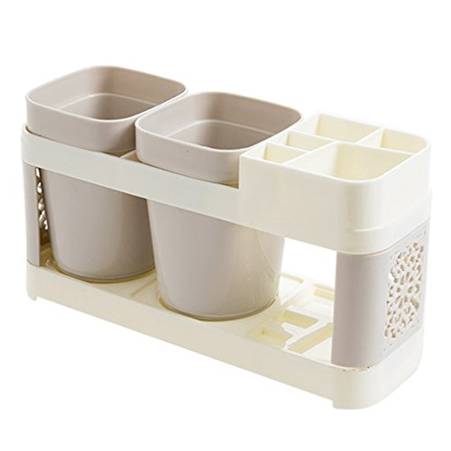 FULLRITAA New Bathroom Toothbrush Cup Toothpaste Holder Suits Bath Set Brush Cup Double cup gray ()