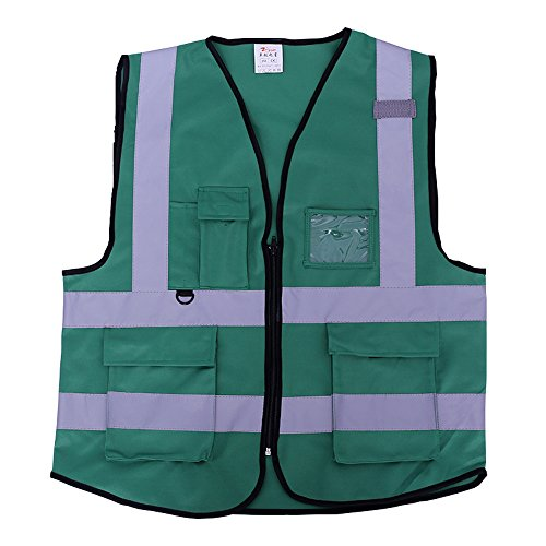 ZOJO High Visibility Safety Vests,Lightweight Mesh Fabric, Wholesale Reflective Vest for Outdoor Works, Cycling, Jogging, Walking,Sports - Fits for Men and Women (Pack of 10, Green) by zojo (Image #2)