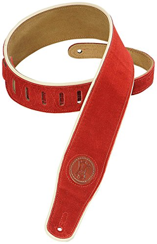 Levy's Leathers MSS3CP-RED Signature Series Suede Guitar Strap with Cream Piping, ()