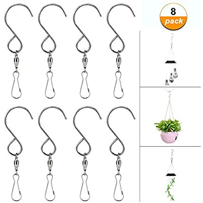 HOPESOOKY Wind Spinners, 8-Pack Swivel Hooks Rotating Clips for Hanging Wind Chimes Plants Basket Birdcage Party Ornaments(Stainless Steel) : Garden & Outdoor