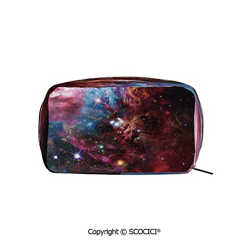 Rectangle Organizer Toiletry Makeup Bags Pouch Space Nebula with Star Cluster in the Cosmos Universe Galaxy Solar Celestial Zone Portable Makeup Brushes -
