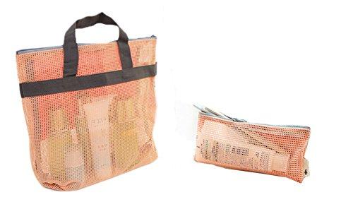 Quick Dry Mesh-Dusche Dusche Tote, Dusche Bag, für Reisen -Orange F