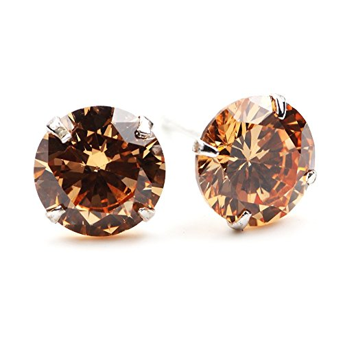Chryssa Youree Swarovski Elements Zirconia CZ 3-8MM Stud Earrings Mens Womens Jewelry Bridesmaid Groomsmen Gifts - champagne)
