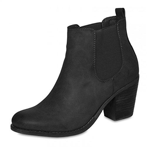 CASPAR Damen Chelsea Stiefeletten Stiefel Boots mit Blockabsatz schwarz weinrot
