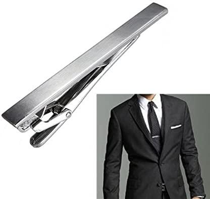 Fashion Luxury Mens Silver Stainless Steel Slim Tie Clip Clasp Bar 6cm @I