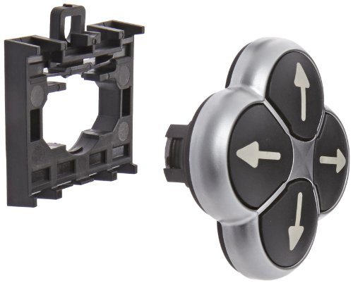 X7 Arrows (Eaton M22-D4-S-X7 Four Way Pushbutton Operator, 22mm Diameter, Non-Interlocked Button Style, Black, Silver Bezel, Directional Arrows)