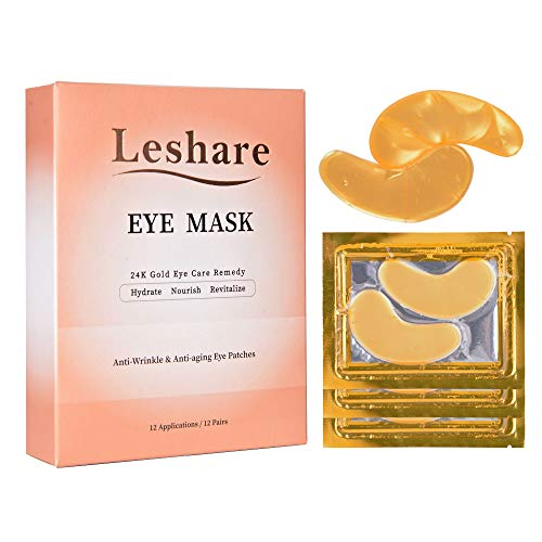 Leshare Eye Mask with 24K Gold and Natural Plant Extracts (12 Pairs)