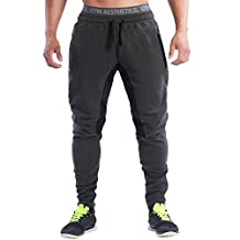 EU Men's Joggers Pants Gym Workout Pant Fitness Running Trousers Zipper Pockets
