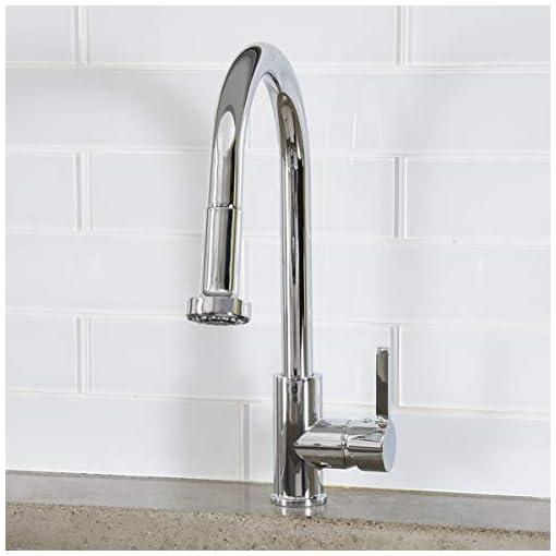 Kitchen Amazon Basics Modern Pull-Down Kitchen Sprayer Faucet, Polished Chrome modern sink faucets