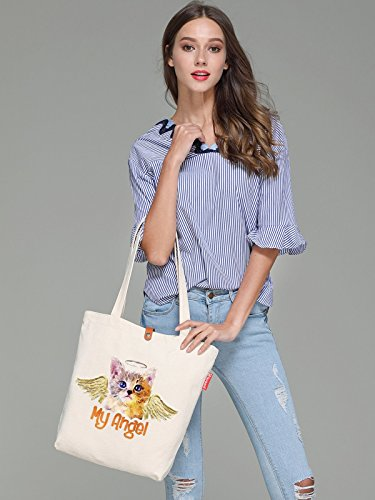 So'each Women's My Angel Cat Art Graphic Top Handle Canvas Tote Shoulder Bag