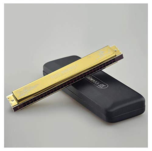Professional Harmonica C 28 Holes Tremolo Mouth Organ Stainless Steel Shell Blues Harmonicon Key of C for Musician Adults with Protective Bag and Cleaning Cloth,Gold
