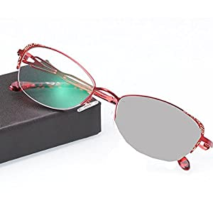 WEARKAPER Womem Transition Sun Photochromic Reading Glasses Diopter Presbyopic Eyeglasses (3.75X, Red)