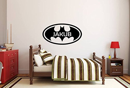 d/écoration p/épini/ère autocollant autocollants maison GRATUIT petit Batman b/éb/é Logo de Batman Nom de lenfant Autocollant personnalis/é Autocollant sur le mur