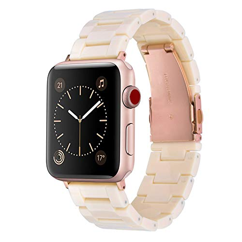 V-MORO Resin Bands Compatible with iWatch Band 38mm 40mm Apple Watch Series 5/4/3/2/1 Women with Stainless Steel Metal Buckle Replacement Lightweight Wristband - Light Pink