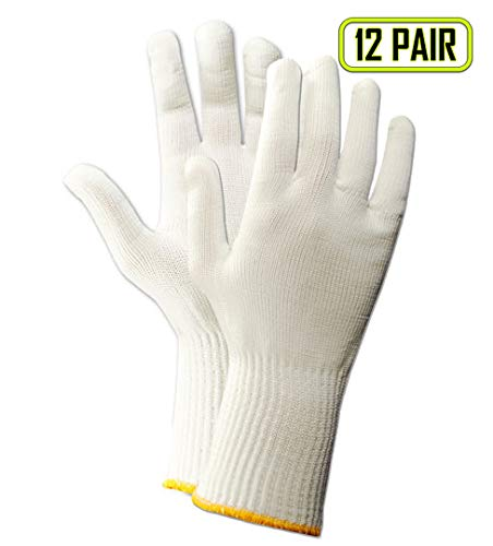 "Magid 15NYL KnitMaster 10 1/2"" Lightweight Machine Knit Nylon Gloves, Large, White (12 Pairs)"