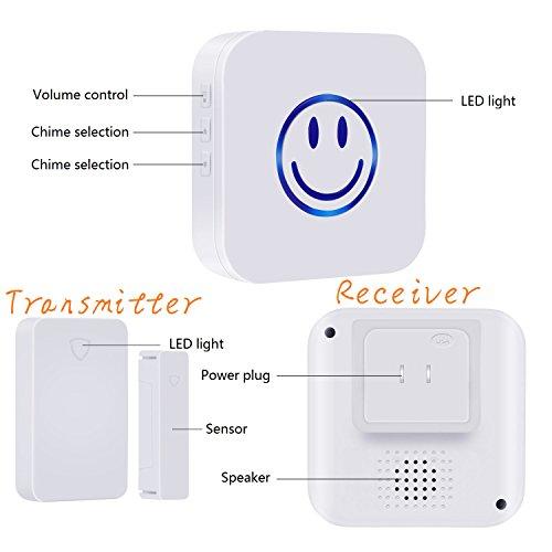 [해외]무선 도어 개방 차임, 도어 센서 차임, 도어 윈도우 보안 경보 작동, 범위 - 650FT 52 차임 튠스 LED 표시기, 1 자성 차임 센/Wireless Door Open Chime, door sensor chime,Door Window Security Alarm-Operating,Range - 650FT 52 Chime Tunes LED...