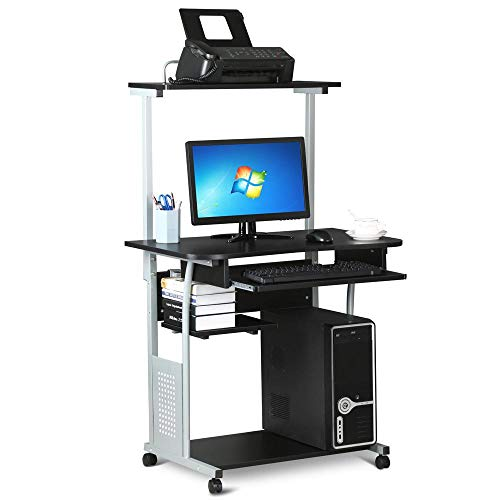 (Yaheetech 2 Tier Rolling Home Office Computer Desk w/Printer Shelf Stand Study Table for Small Space Black)